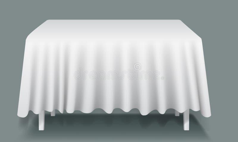Tabla rectangular vacía blanca del vector con el mantel ilustración del vector
