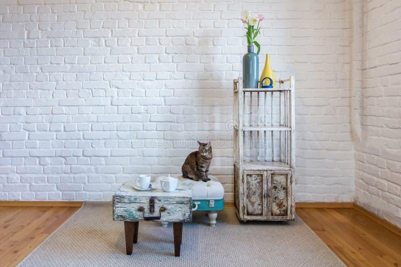 Tabla, sillas, estantes en el fondo de una pared de ladrillo blanca en el desv?n del vintage interior con el gato fotografía de archivo