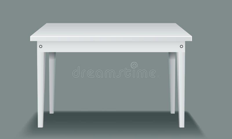Tabla vacía blanca con cuatro piernas y vista lateral stock de ilustración