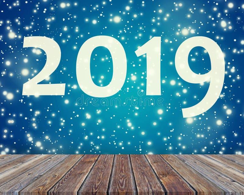 2019 tabla vacía en fondo azul con los copos de nieve disposición del día de fiesta, Año Nuevo, la Navidad libre illustration