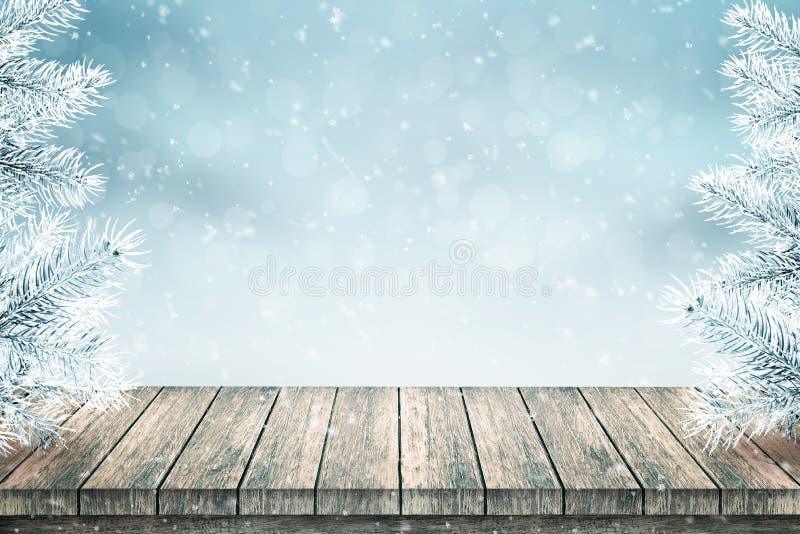 Tabla vacía y abetos de madera de la Navidad cubiertos con nieve ilustración del vector