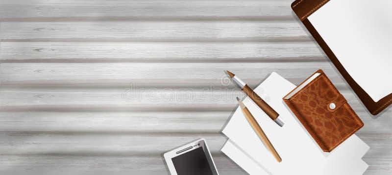 Tabla vieja, de madera con una taza de café, papel, pluma y lápiz en estilo del realismo lugar de trabajo del negocio, fondo del  libre illustration