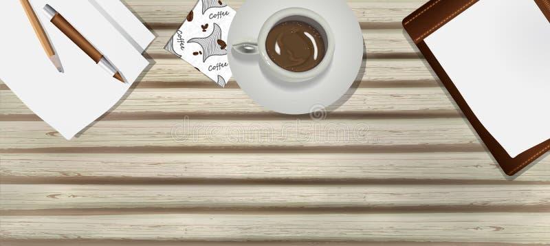 Tabla vieja, de madera con una taza de café, papel, pluma y lápiz en estilo del realismo lugar de trabajo del negocio, fondo del  stock de ilustración