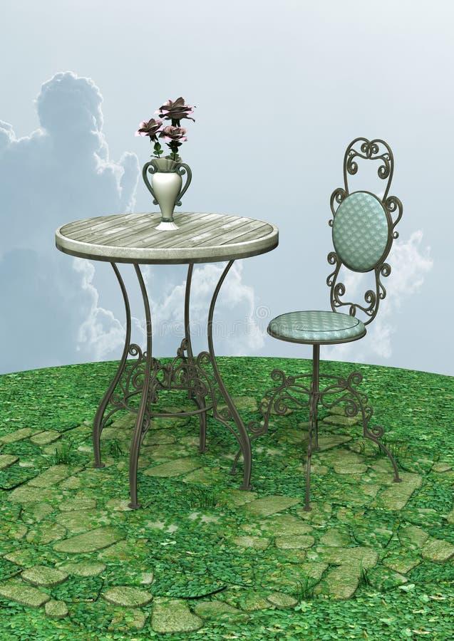 Tabla y silla del vintage ilustración del vector