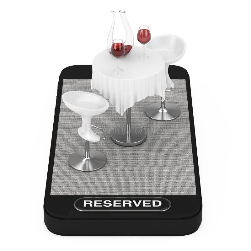 Tabla y sillas del restaurante con el vino tinto en el teléfono móvil de Smartphone y el botón reservado representación 3d stock de ilustración