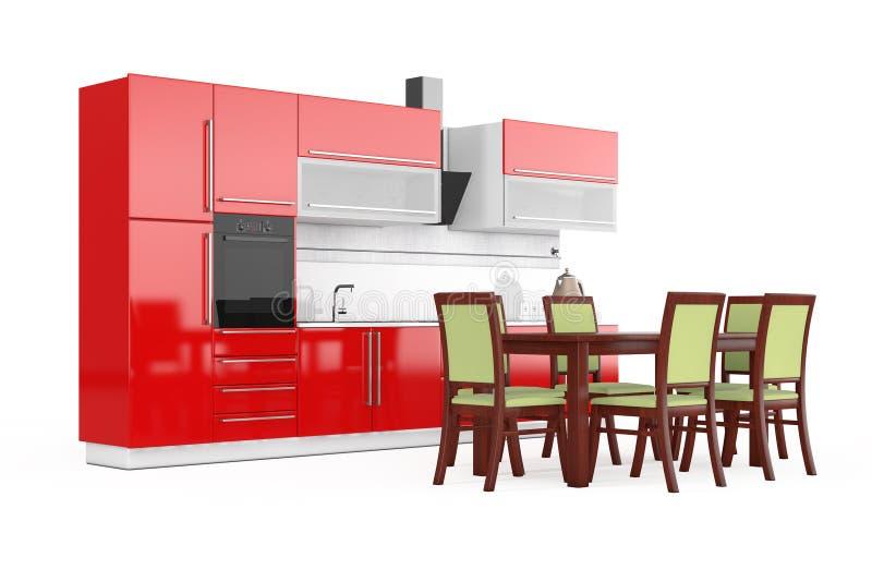 Tabla Y Sillas Delante De Los Muebles Rojos Modernos De La Cocina ...