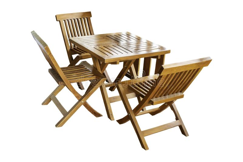 Tabla y sistema de madera aislados de la silla, vintage hermoso en un fondo blanco con la trayectoria de recortes foto de archivo libre de regalías