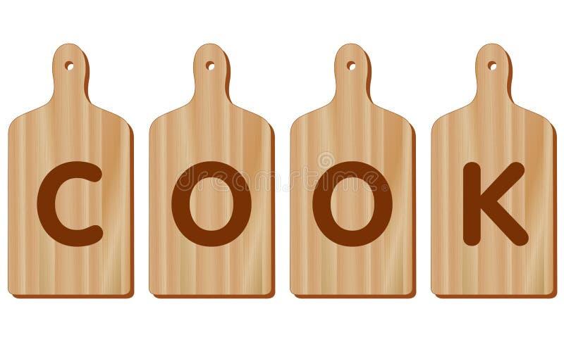 Tablas de cortar, madera, forma de la paleta, COCINERO ilustración del vector