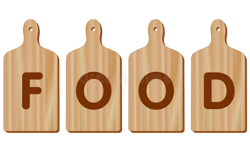 Tablas de cortar, madera, forma de la paleta, COMIDA ilustración del vector