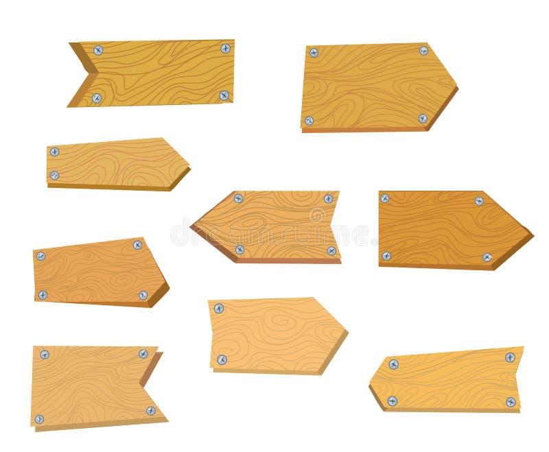 Tablas de madera fijadas para los letreros libre illustration