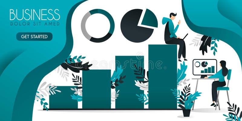 Tablas y estadísticas de la carta marco para escribir el hombre que se sienta sobre la carta de barra y la mujer que trabaja abaj ilustración del vector
