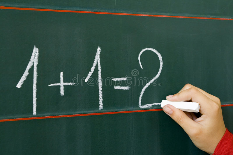 On table 1+1=2 stock images