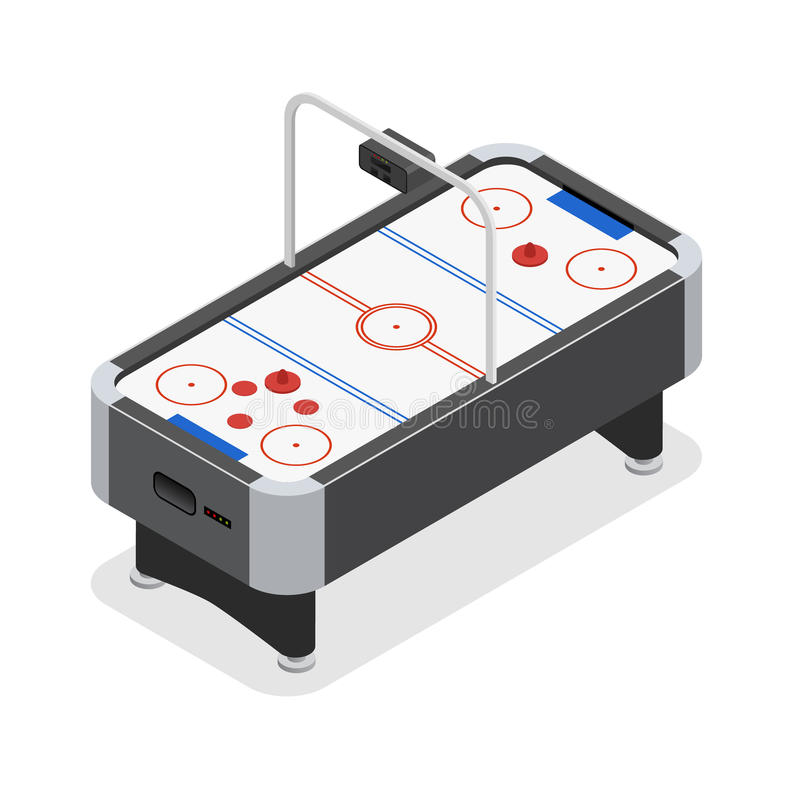 Table Air Hockey Game Isometric View. Vector royalty free illustration