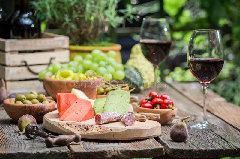 Table with appetizers and wine in summer garden. On old wooden table royalty free stock photography