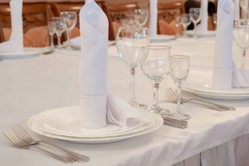 Table Arrangement In Very Expensive Haute Cuisine Restaurant Stock