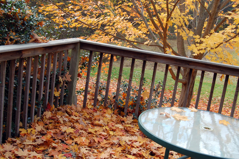 Table in Autumn stock photography