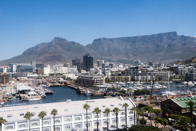 Table Bay and harbor, Cape Town royalty free stock image