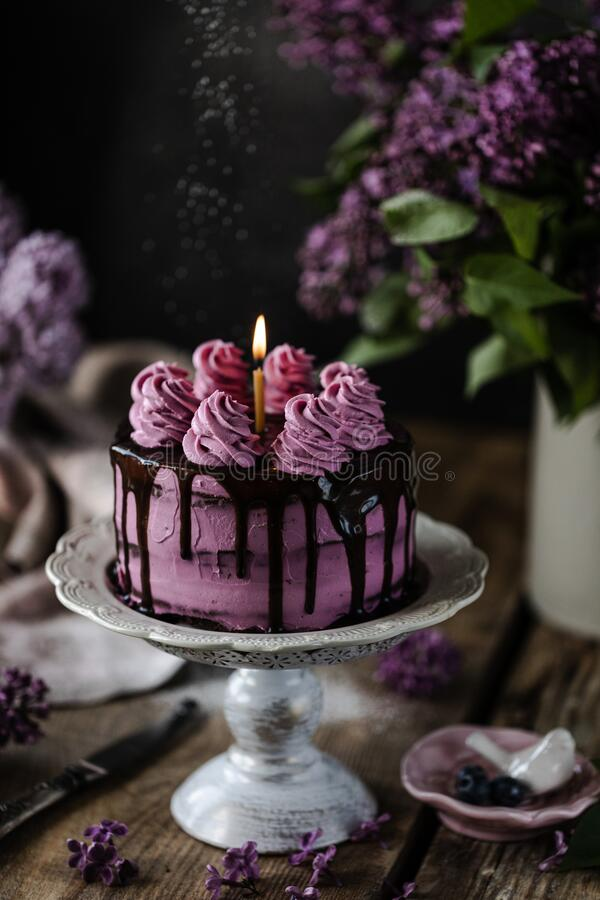 On the table is a beautiful chocolate cake and a bouquet of lilacs. dark. On the table is a beautiful chocolate cake and a bouquet of lilacs stock photography