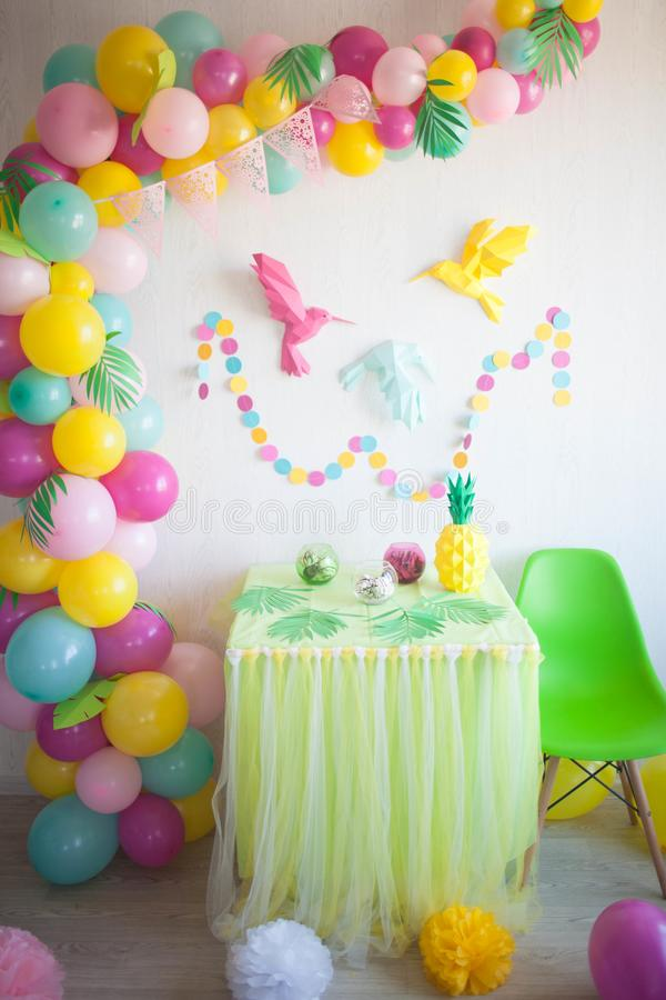Table beautifully decorated for a colorful birthday party stock photos