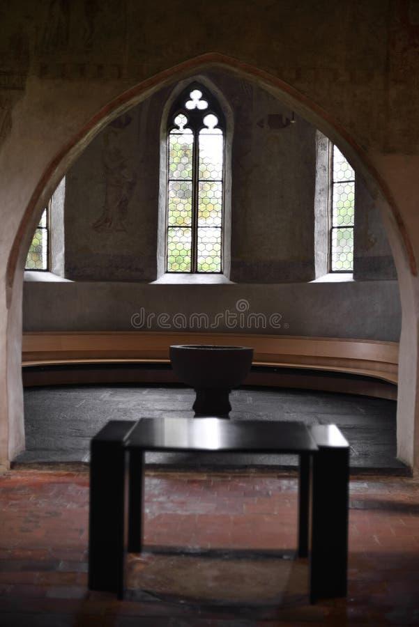 Table for Bible inside Scherzligen Church from Thun Switzerland. stock image