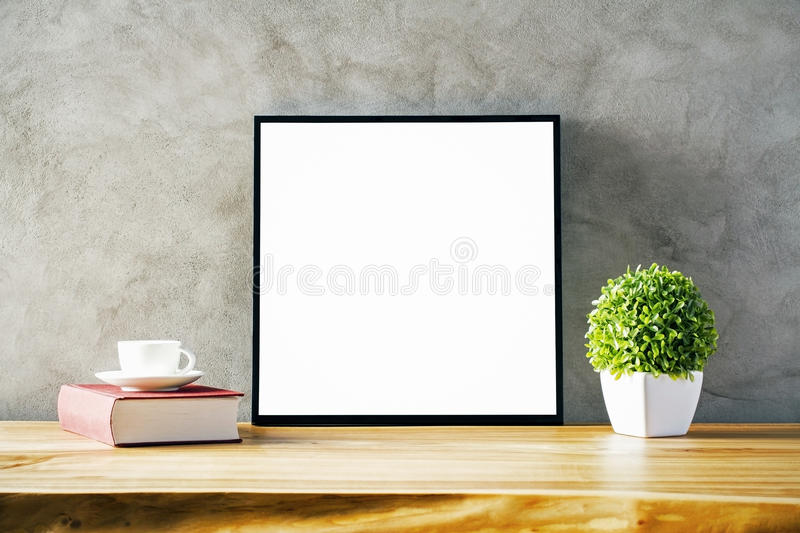 Table with blank frame royalty free stock image