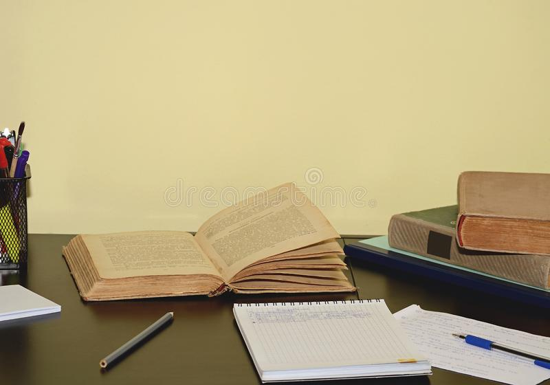 Books and notebooks on the table. royalty free stock photo