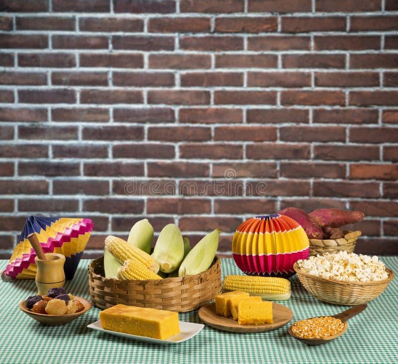 Table of brazilian festa junina stock photography