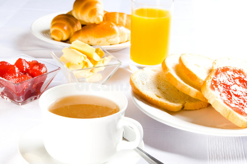 Table with breakfast stock image