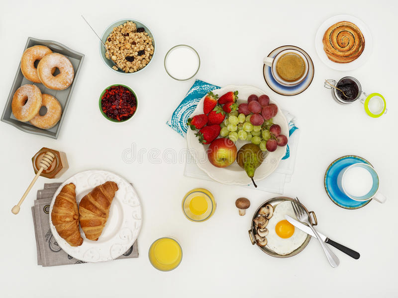 Table with breakfast stock images