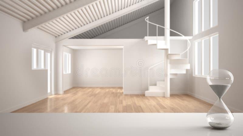Table, bureau ou étagère blanc avec le sablier moderne en cristal mesurant le temps de dépassement au-dessus de l'espace vide mod illustration stock
