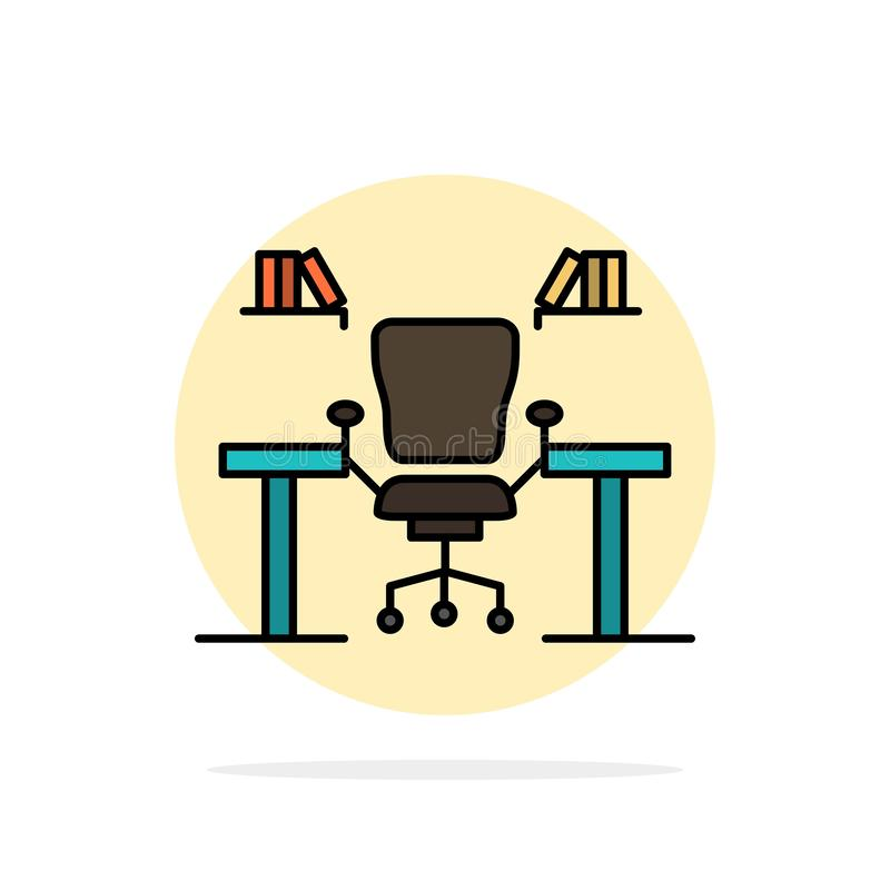 Table, Business, Chair, Computer, Desk, Office, Workplace Abstract Circle Background Flat color Icon vector illustration