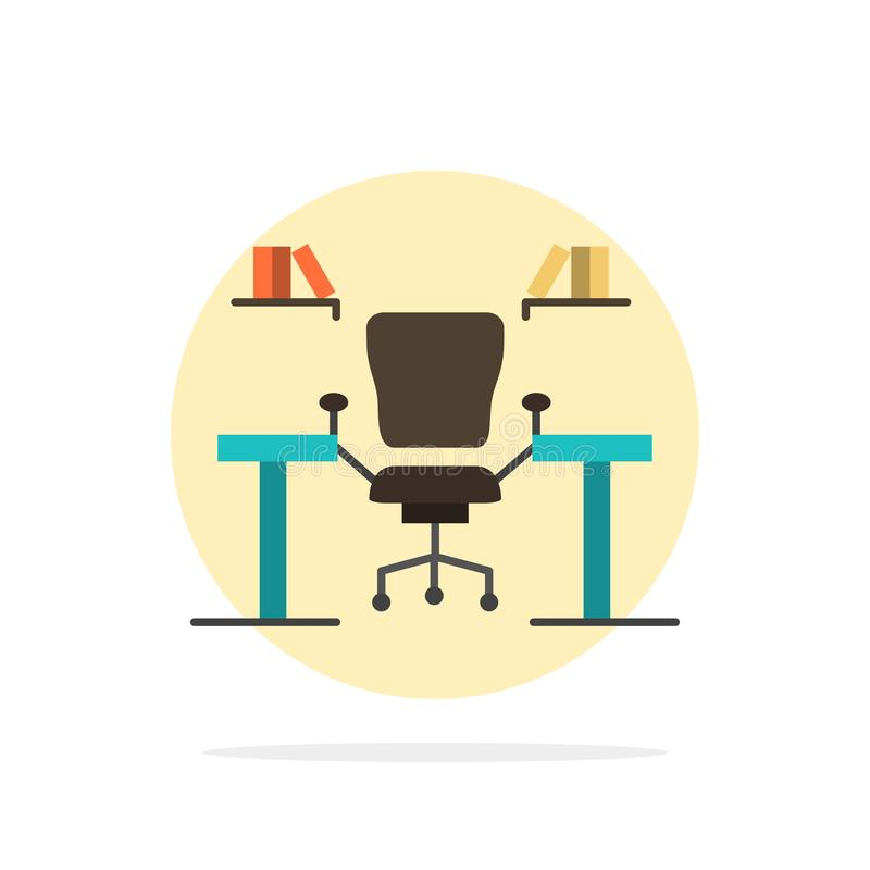 Table, Business, Chair, Computer, Desk, Office, Workplace Abstract Circle Background Flat color Icon stock illustration