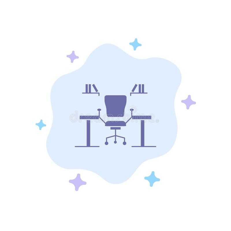 Table, Business, Chair, Computer, Desk, Office, Workplace Blue Icon on Abstract Cloud Background vector illustration