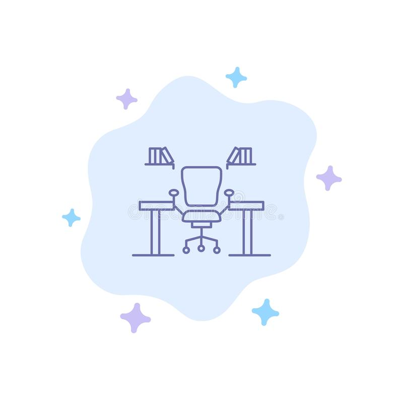 Table, Business, Chair, Computer, Desk, Office, Workplace Blue Icon on Abstract Cloud Background royalty free illustration