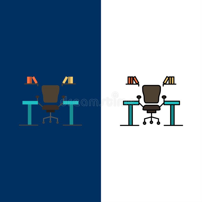 Table, Business, Chair, Computer, Desk, Office, Workplace  Icons. Flat and Line Filled Icon Set Vector Blue Background vector illustration