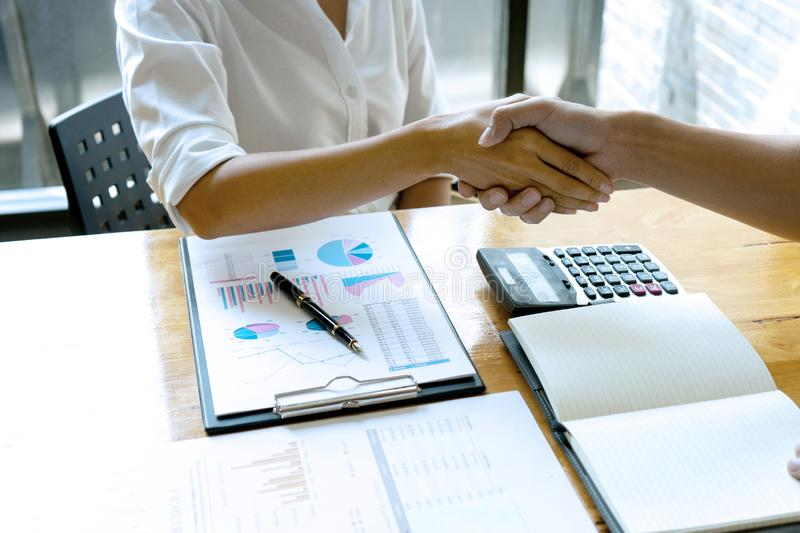 businessman hand shake with another business man woman royalty free stock photos
