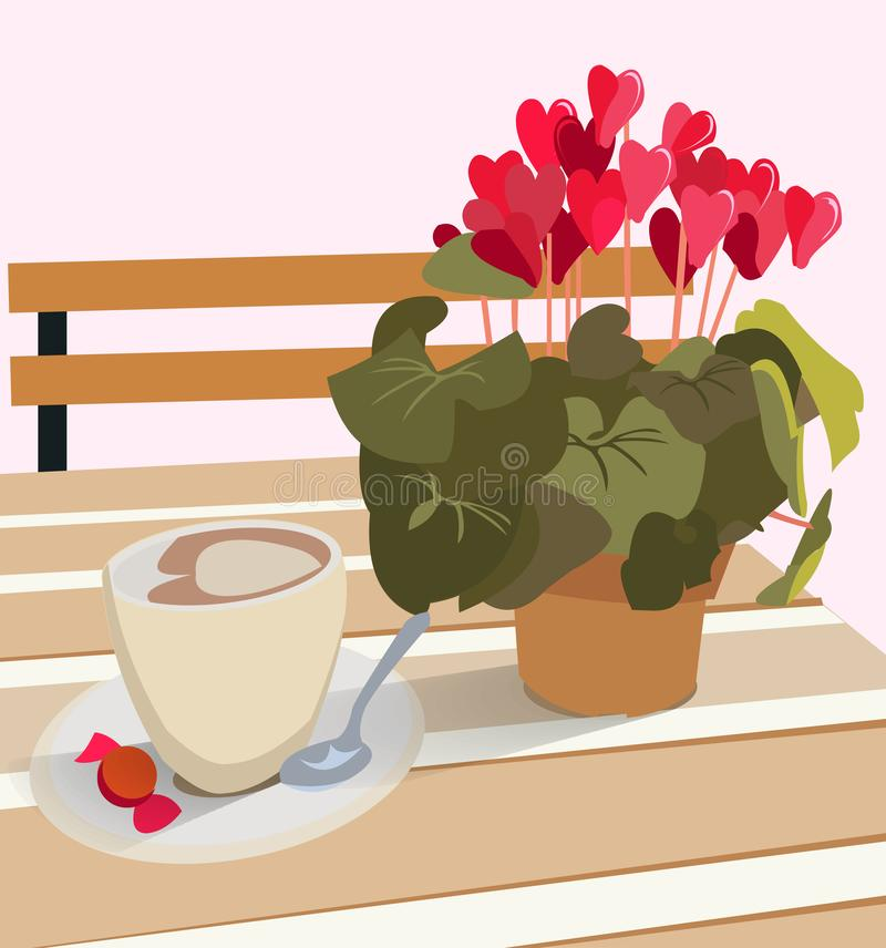 A table in a cafe with a flower cyclamen in a pot and a cup of coffee with candy. Vector illustration for greeting cards and royalty free illustration