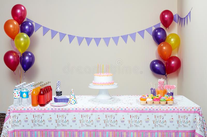 Table set for birthday party stock image