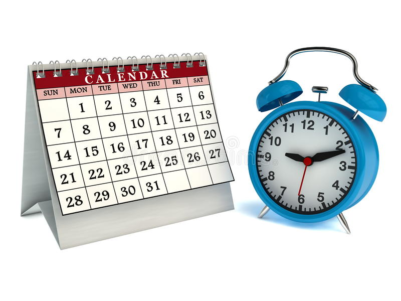 Download Table Calendar And Alarm Clock Stock Illustration - Image: 32445496