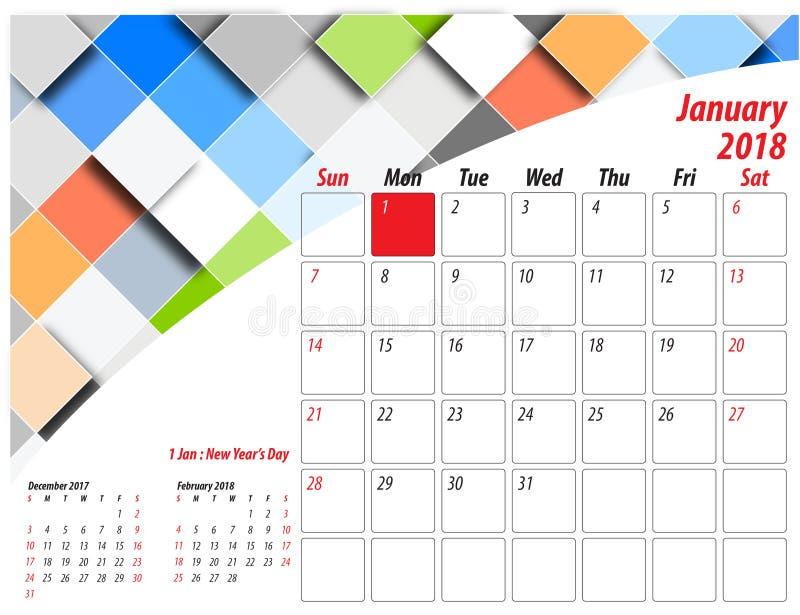 Table Calendar 2018. Table Calender 2018, Size 25cm x 19cm, Illustrator file include January 2018 to December 2018 vector illustration