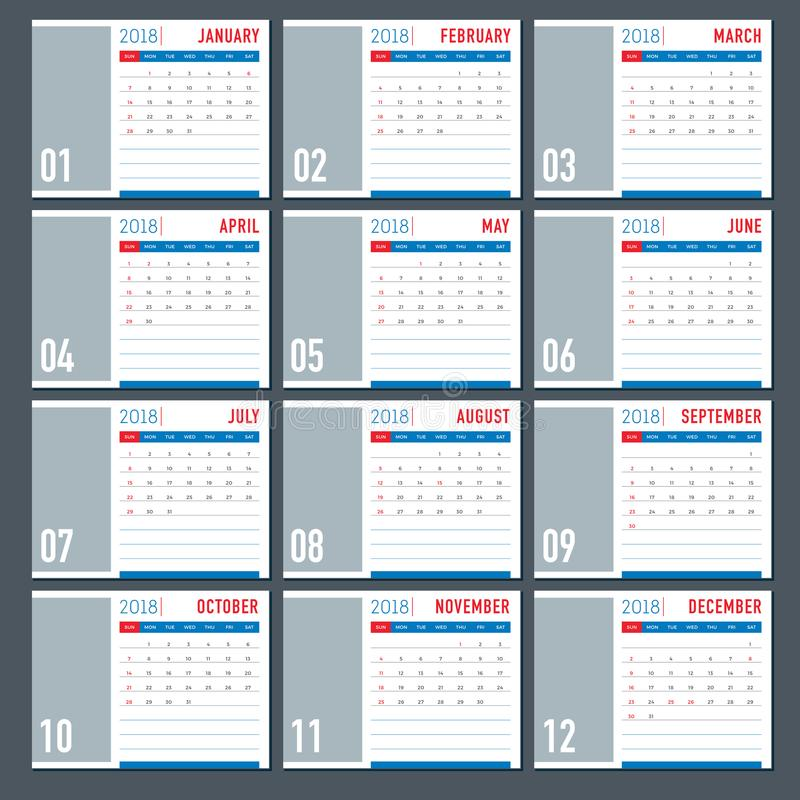 Table 2018 Calendar Template Layout Stock Vector Illustration Of