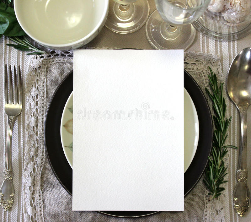 Table card mockup, menu mockup. Vintage fashion photography. royalty free stock photos