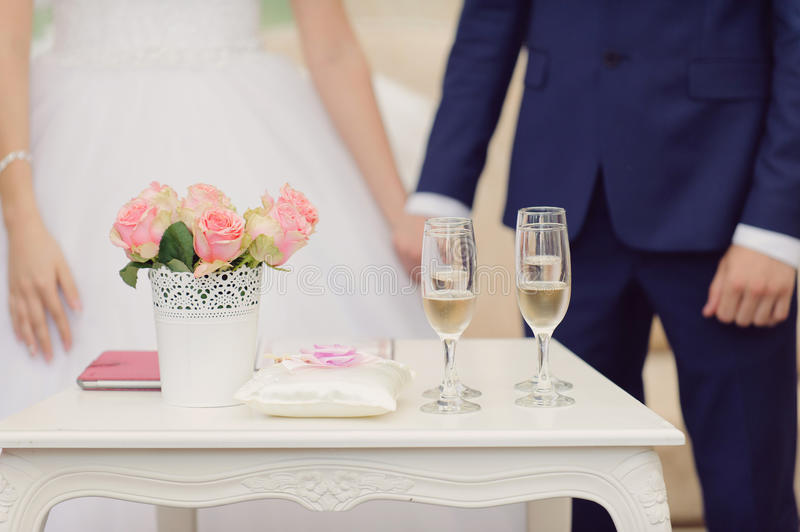 Table for Ceremony. Decorated table for wedding ceremony royalty free stock image