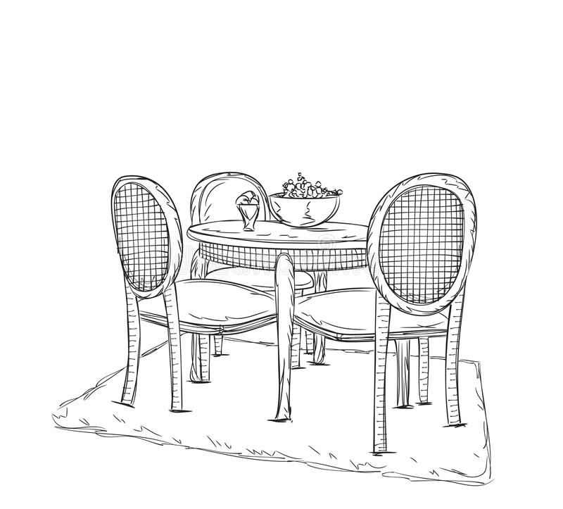 Table And Chair Sketch. Dinner In The Home. Stock Vector