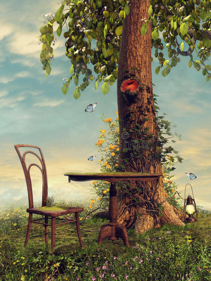 Table and chair under a tree royalty free illustration
