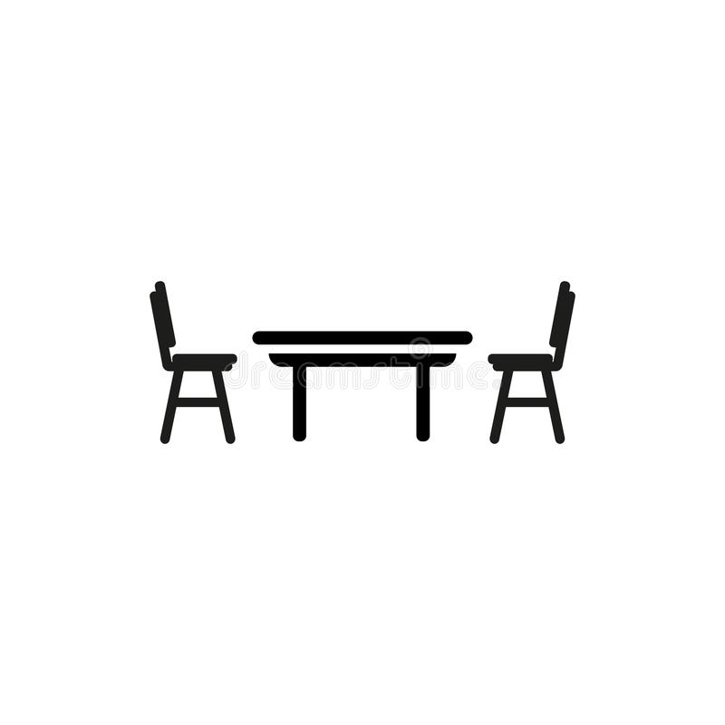 Table with chair vector icon stock illustration