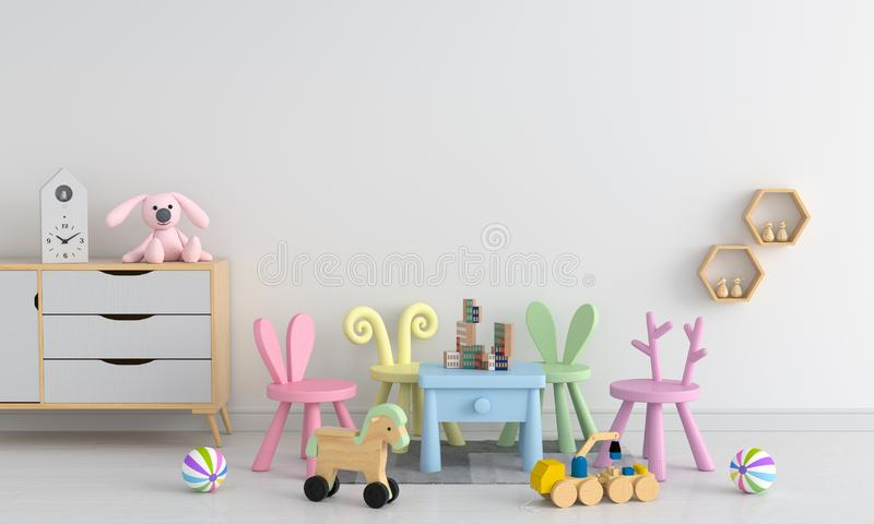 Table and chair in white child room, 3D rendering vector illustration