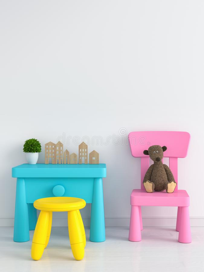 Table and chair in white child room, 3D rendering stock photography