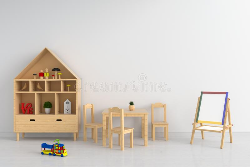 Table and chair in white child room for mockup, 3D rendering vector illustration