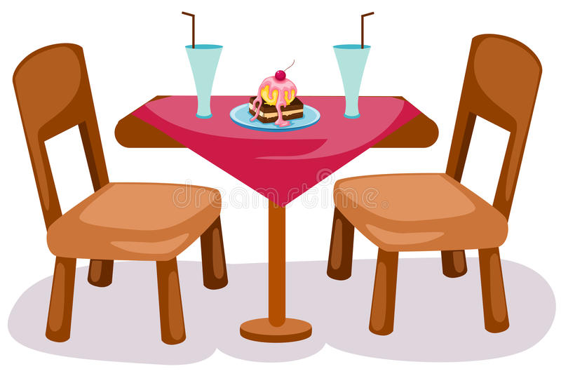 Table and chairs. Illustration of isolated table and chairs on white background royalty free illustration